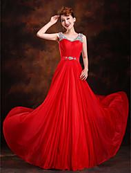 Linea-A Da principessa Strascico a terra Seta Serata formale Vestito con Perline Dettagli con cristalli Drappeggio Fascia / fiocco in