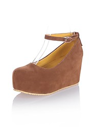 cheap -Women's Shoes Faux Suede Spring Summer Fall Winter Platform Wedge Heel Buckle For Dress Camel Black