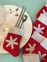 economico -6pcs / set di neve di natale calza posate decorazione titolare tavola