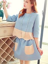gola redonda maternidade moda terno das mulheres (camisa&saia)