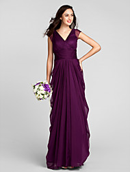 cheap -Sheath / Column V Neck Floor Length Chiffon Bridesmaid Dress with Sash / Ribbon Ruched by LAN TING BRIDE®