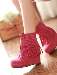 cheap -Women's Shoes Faux Suede Spring Fall Winter Bootie Platform Wedge Heel Booties/Ankle Boots Tassel For Dress Black Pink Brown Beige