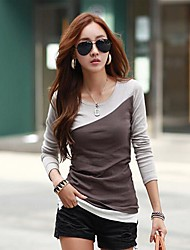 couleur de contraste occasionnels t-shirt en coton mince des femmes ts