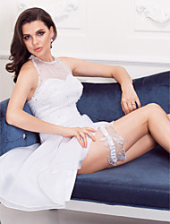 cheap -Lace Satin Classic Wedding Garter with Rhinestone Bowknot Garters