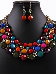 baratos -Mulheres Conjunto de jóias Brincos / Colares - Roxo / Arco-Íris Para Festa