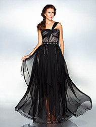 cheap -Sheath / Column One Shoulder Floor Length Chiffon Formal Evening Military Ball Dress with Beading Criss Cross by TS Couture®