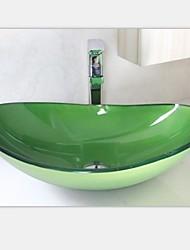 Недорогие -Современный зеленый раковина овальной формы закаленное стеклянный сосуд со смесителем набор