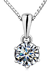 cheap -Women's Crown Sterling Silver Zircon Cubic Zirconia Pendant Necklace - Basic Elegant Crown White Necklace For Wedding Party Gift Daily