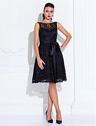 cheap -A-Line / Fit & Flare Illusion Neck Knee Length Lace Little Black Dress Cocktail Party / Prom Dress with Lace / Sash / Ribbon by TS Couture®