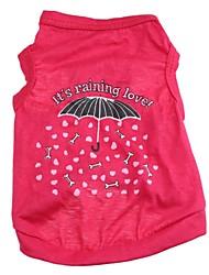 Chat Chien Tee-shirt Vêtements pour Chien Dessin-Animé Cœur Rouge Rose