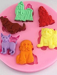 cani strumenti di decorazione animale fondente torta al cioccolato della torta del silicone della muffa, l8.9cm * w8.9cm * h1cm