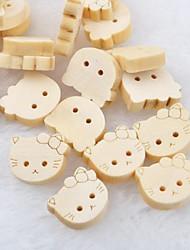 Cat Head Scrapbook Scraft Sewing DIY Wooden Buttons(10 PCS)