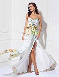 Linea-A A cuore Lungo Chiffon Serata formale Vestito con Dettagli con cristalli A incrocio di TS Couture®