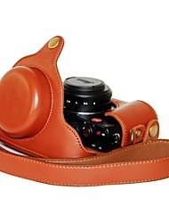 baratos -pajiatu® pu câmera grãos lichia couro tampa do saco de caixa de proteção para Panasonic Lumix LX7 / leica d-lux6 câmera digital