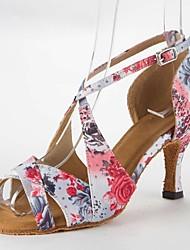 Недорогие -Жен. Обувь для латины Сатин Сандалии На шпильке Не персонализируемая Танцевальная обувь Розовый / Кожа