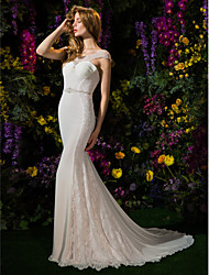 cheap -Mermaid / Trumpet Scoop Neck Chapel Train Georgette Wedding Dress with Beading by LAN TING BRIDE®