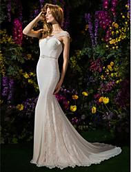 Sereia / trompete colher de pescoço capela trem georgette vestido de noiva com beading by lan ting bride®