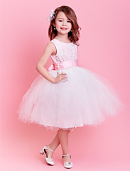 Ball Gown Knee Length Flower Girl Dress - Tulle Sleeveless Jewel Neck with Embroidery