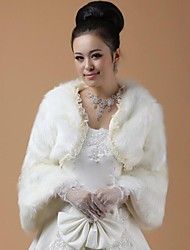 Long Sleeves Faux Fur Wedding Fur Wraps Wedding  Wraps With Feathers / fur Coats / Jackets