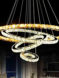 economico -4 Ring Remote Control One Light Two Style Hall Hotel LED Crystal Pendant Lights Stainless Steel
