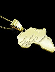 Men's Women's Pendants Map Stainless Steel Gold Plated Fashion Africa Travel Map Jewelry For