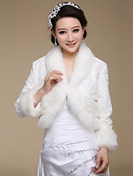 Long Sleeves Faux Fur Wedding Party Evening Fur Wraps Wedding  Wraps Coats / Jackets