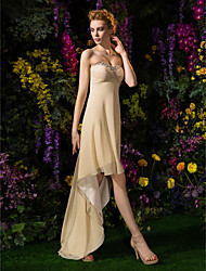 cheap -A-Line Sweetheart Asymmetrical Georgette Bridesmaid Dress with Beading Criss Cross Ruching by LAN TING BRIDE®