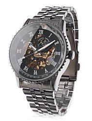 Herren Armbanduhr Automatikaufzug Transparentes Ziffernblatt Edelstahl Band Schwarz Marke- SHENHUA