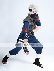 Inspired by Naruto Hatake Kakashi Ninja Uniform Anime Cosplay Costumes Cosplay Suits Patchwork Long SleeveVest Top Pants Gloves Bag Mask Pocket