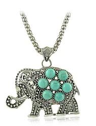 chic Elefant türkis-Anhängerhalsketten Weinlese-Silber-Kette Halsketten