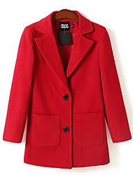 Недорогие -Кастиэль Барри женская новая двойная пряжка лацкан пальто шерсти