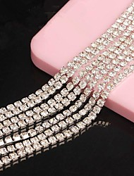 cheap -Meters Silver Tone Clear Crystal Rhinestone Chain Line 3D Alloy 1m Handmade DIY Craft Material/Clothing Accessories