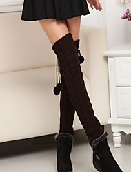 cheap -Women's Warm Stockings, Cotton Solid Black Brown Dark Gray Khaki Light gray