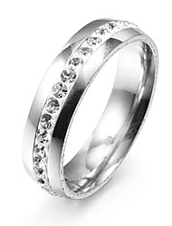 cheap -Fashion Single Line Zircon Silver Stainless Steel Band Rings(1 Pc)