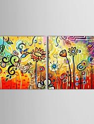 Pintados à mão Floral/Botânico 2 Painéis Tela Pintura a Óleo For Decoração para casa