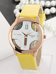rodada pu mostrador do relógio de quartzo pulseira de couro das mulheres Woli