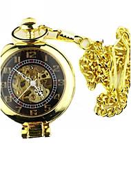 Da uomo Orologio da tasca orologio meccanico Meccanico a carica manuale Orologi con incisioni Lega Banda Vintage Di lusso Oro Dorato