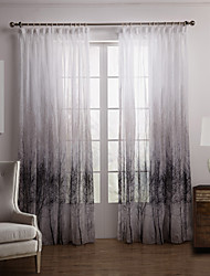 cheap -Rod Pocket Grommet Top Tab Top Double Pleat Two Panels Curtain Country , Print Bedroom Polyester Material Sheer Curtains Shades Home