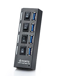 billiga -vina® portabel 4-port usb 3.0 super fart 5.0gbps nav med brytare för tablet / pc -Svart