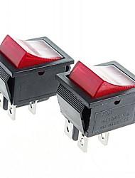 Commutateurs à bascule bascule 4 broches avec indicateur de lumière rouge (x2)