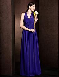 A-Line Princess V-neck Floor Length Chiffon Bridesmaid Dress with Sash / Ribbon Criss Cross Ruching by LAN TING BRIDE®