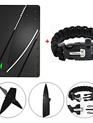 cheap -Survival Gear Paracord Brecelet Magnesium Stone Flint Fire Starter Whistle Buckles with Credit Card Wallet Self Defense