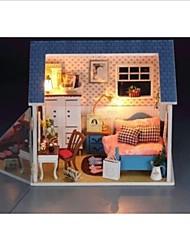 DIY LED luce piccole miniature camera da letto caldo casa delle bambole con tutta scena copertura