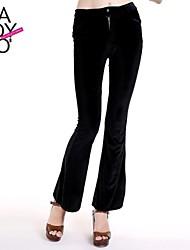 veludo vintage único botão frontal zip calças bootcut apertado das mulheres haoduoyi®