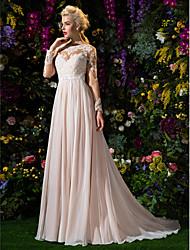 Linha A Princesa Decorado com Bijuteria Cauda Corte Chiffon Tule Vestido de casamento com Apliques Faixa / Fita Broche de Cristal em