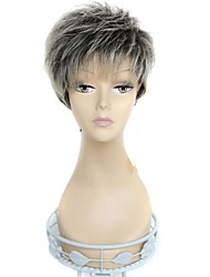 Capless Short Straight Side Bangs 180 Degree High Temperature Fiber Synthetic Wigs