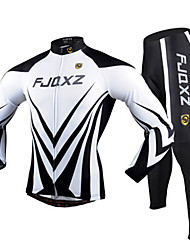 cheap -FJQXZ Men's Long Sleeves Cycling Jersey with Tights - Black/White Bike Clothing Suits, 3D Pad, Quick Dry, Ultraviolet Resistant,