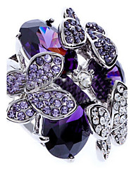 cheap -Women's Zircon Cubic Zirconia Imitation Diamond Alloy Statement Ring - Butterfly Animal Luxury Fashion Purple Ring For Party