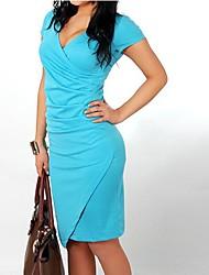 povoljno -Ženska sexy / stranka / rad / plus veličine mikro-elastična kratki rukav koljeno duljine haljinu (pamuk mješavine)