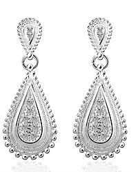 abordables -Mujer Cristal Pendientes colgantes - Plateado Gotas de Ojos Moda Plata Para Boda / Fiesta / Diario